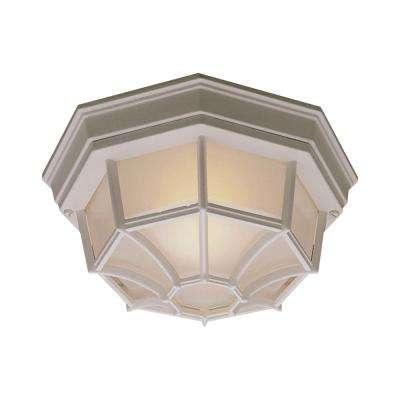 Outdoor Essentials 1-Light Matte White Outdoor Flush Mount