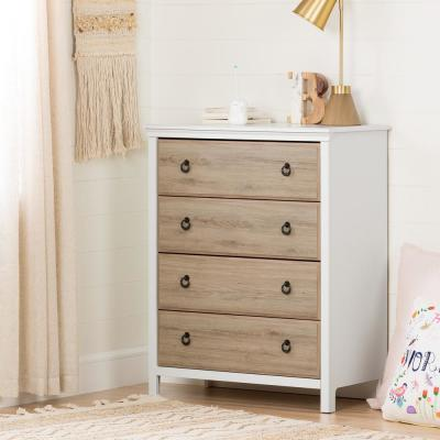 Catimini 4-Drawer Pure White and Rustic Oak Chest
