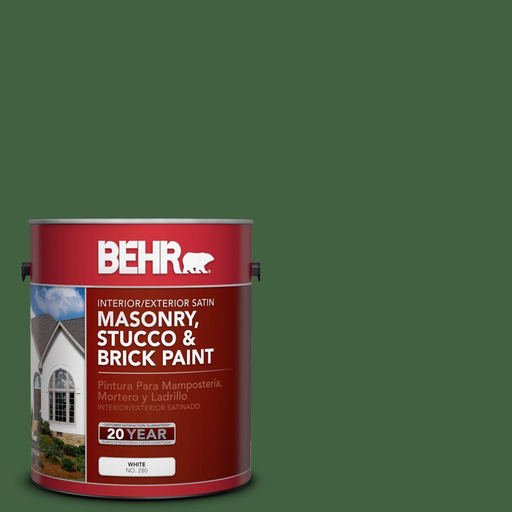 BEHR 1 gal. #S400-7 Deep Viridian Satin Interior/Exterior Masonry, Stucco and Brick Paint
