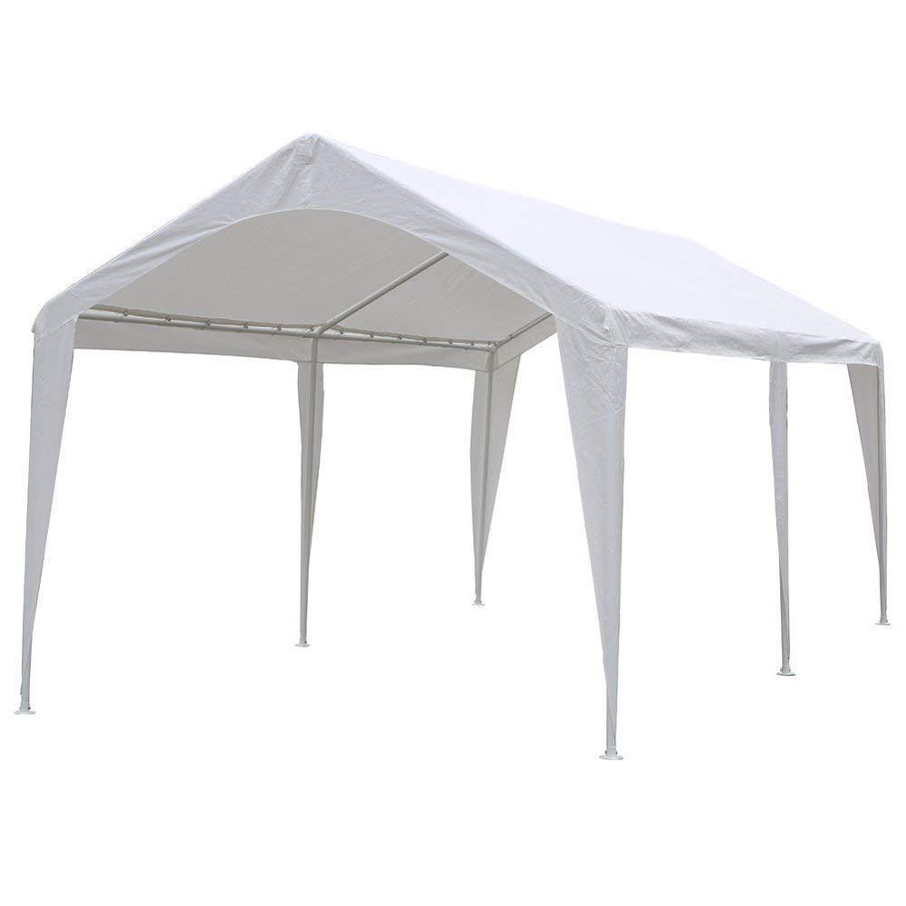 Abba Patio 10 ft. W x 20 ft. D x 9.5 ft. White Heavy-Duty Caport 6 Legs w/ Leg Pole Protection Design