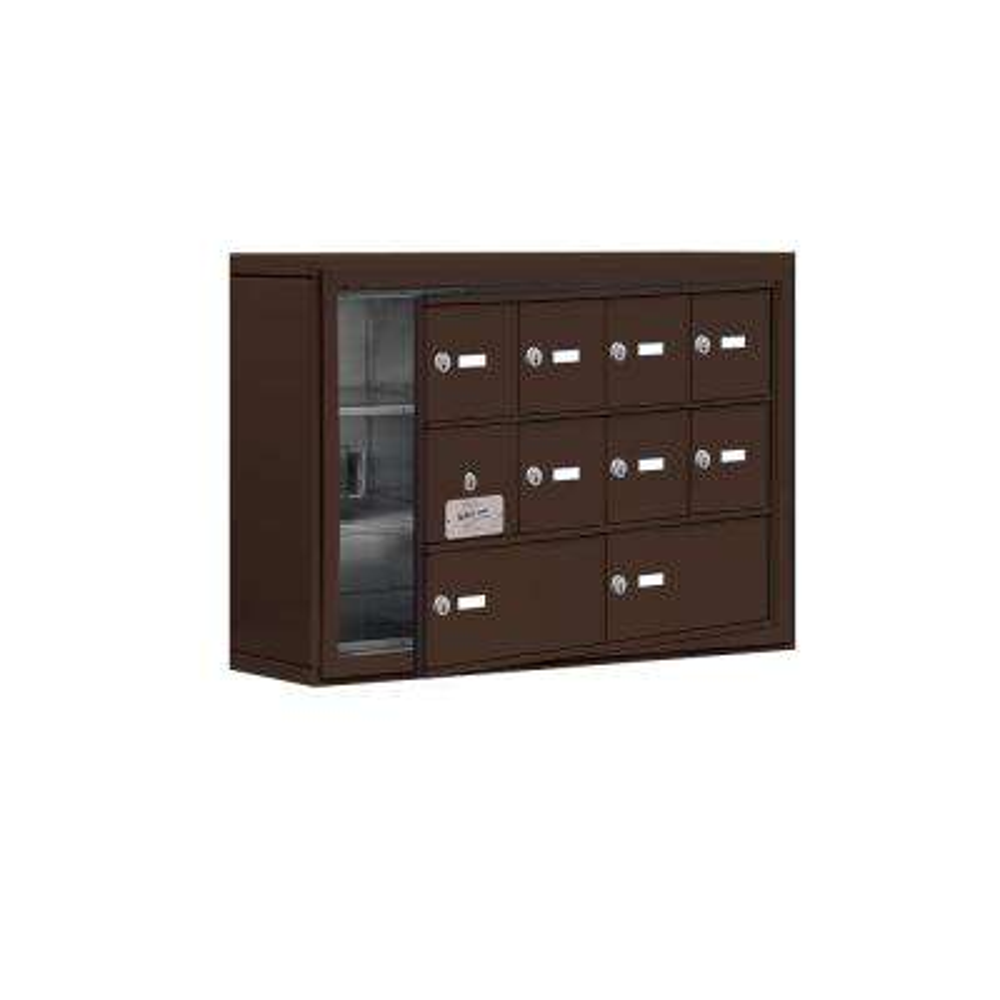 19100 Series 30.5 in. W x 20 in. H x 6.25 in. D 9 Doors Cell Phone Locker S-Mount Keyed Locks in Bronze