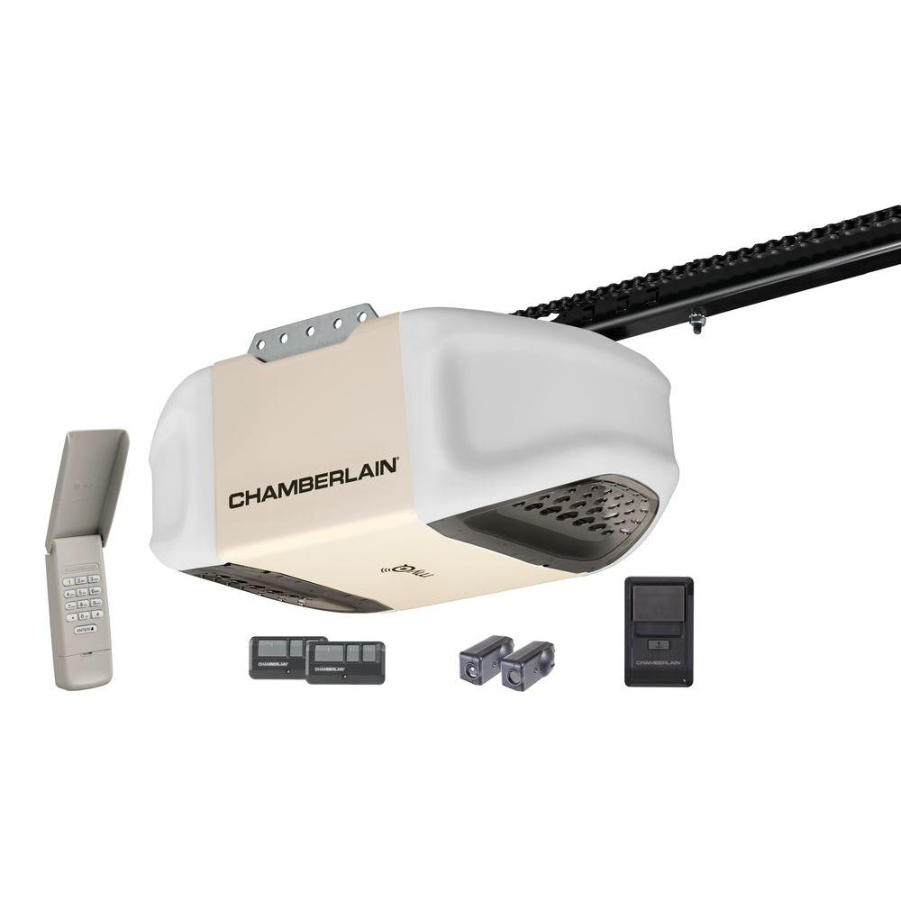 Chamberlain 1 2 hp myq enabled chain drive garage door for 1 hp garage door opener