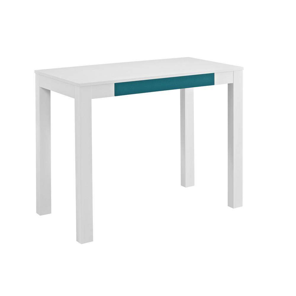 Ameriwood Home Nelson White And Teal Computer Desk With Storage