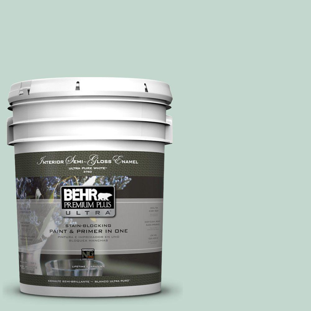 5-gal. #470E-3 Aqua Smoke Semi-Gloss Enamel Interior Paint