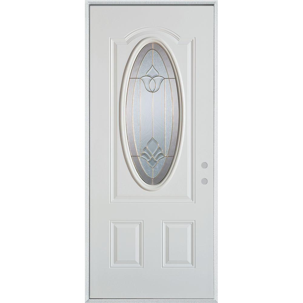 Stanley Doors 32 in. x 80 in. Traditional Brass 3/4 Oval Lite 2-Panel Painted White Left-Hand Inswing Steel Prehung Front Door