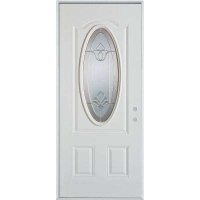 32 in. x 80 in. Traditional Brass 3/4 Oval Lite 2-Panel Painted White Left-Hand Inswing Steel Prehung Front Door