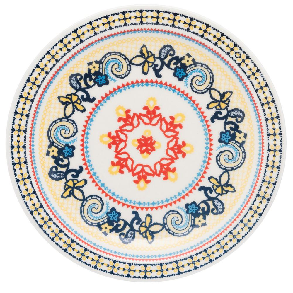 Manhattan Comfort 10.04 in. Floreal Orange and Yellow Dinner Plates (Set of 6) was $69.99 now $37.7 (46.0% off)