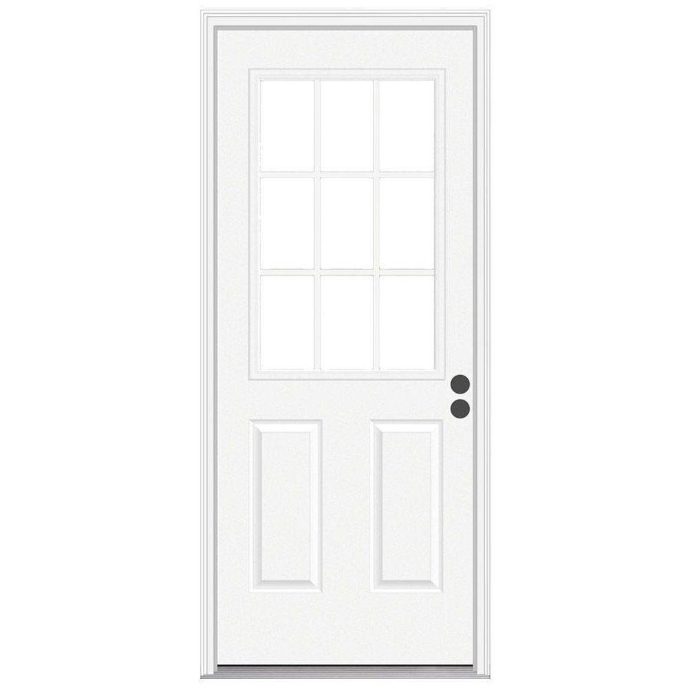 null 36 in. x 80 in. 9 Lite Primed Steel Prehung Left-Hand Inswing Front Door w/Brickmould