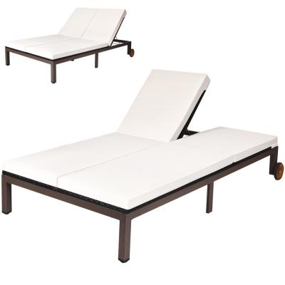 1-Piece Metal Wicker Outdoor Chaise Lounge with Cushion White
