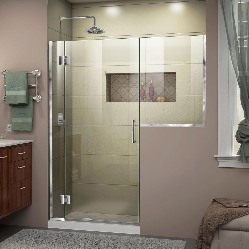 Unidoor-X 53 to 53.5 in. x 72 in. Frameless Hinged Shower Door in Chrome