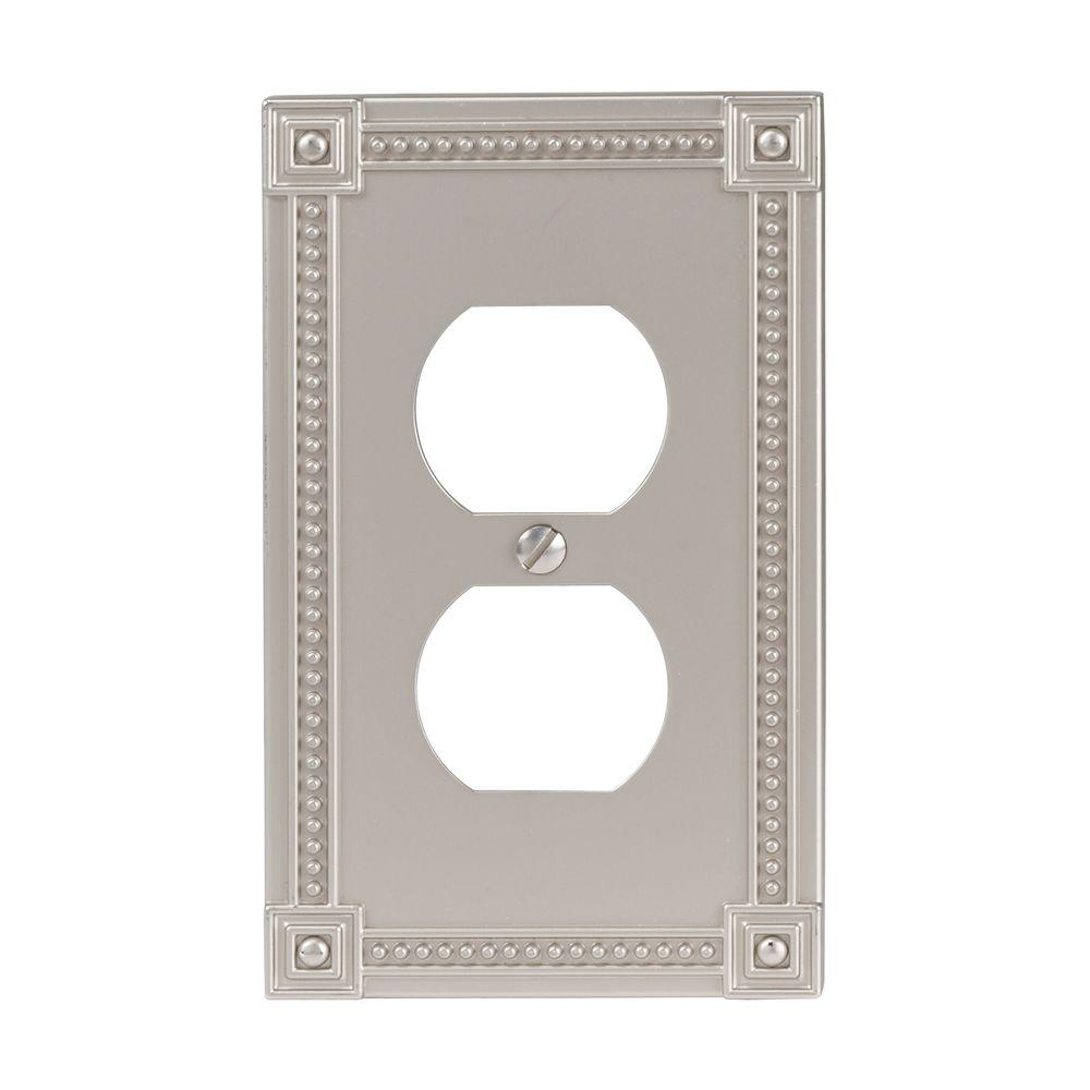 Amerelle Traditional 1 Duplex Wall Plate - Satin Nickel