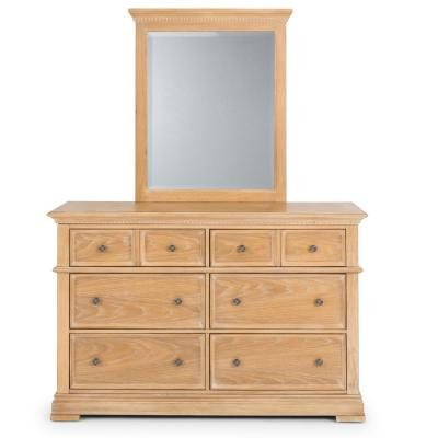 Manor House 56 in. 6 Drawer 36 in. L x 19 in. W Natural Dresser with Mirror