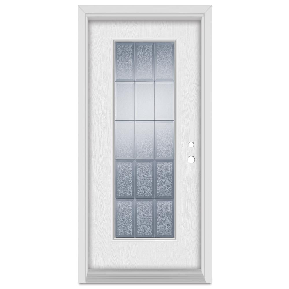 Stanley Doors 37.375 in. x 83 in. Geometric Left-Hand Full Lite Zinc Finished Fiberglass Oak Woodgrain Prehung Front Door Brickmould