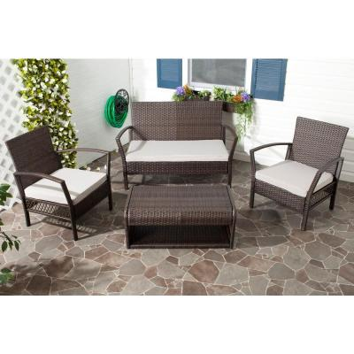 Avaron Brown Rattan 4-Piece Waterproof Terylene Patio Seating Set with Grey Cushions