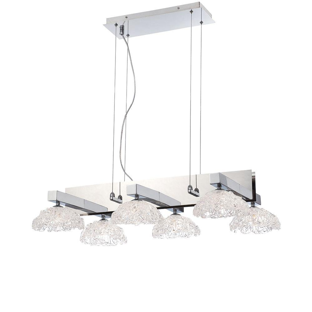 Caramico Collection 6-Light Chrome Chandelier with Crystal Shade