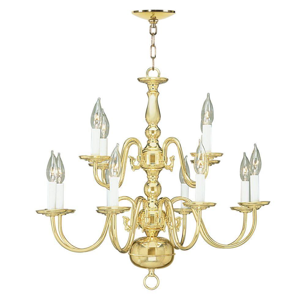 12-Light Polished Brass Chandelier