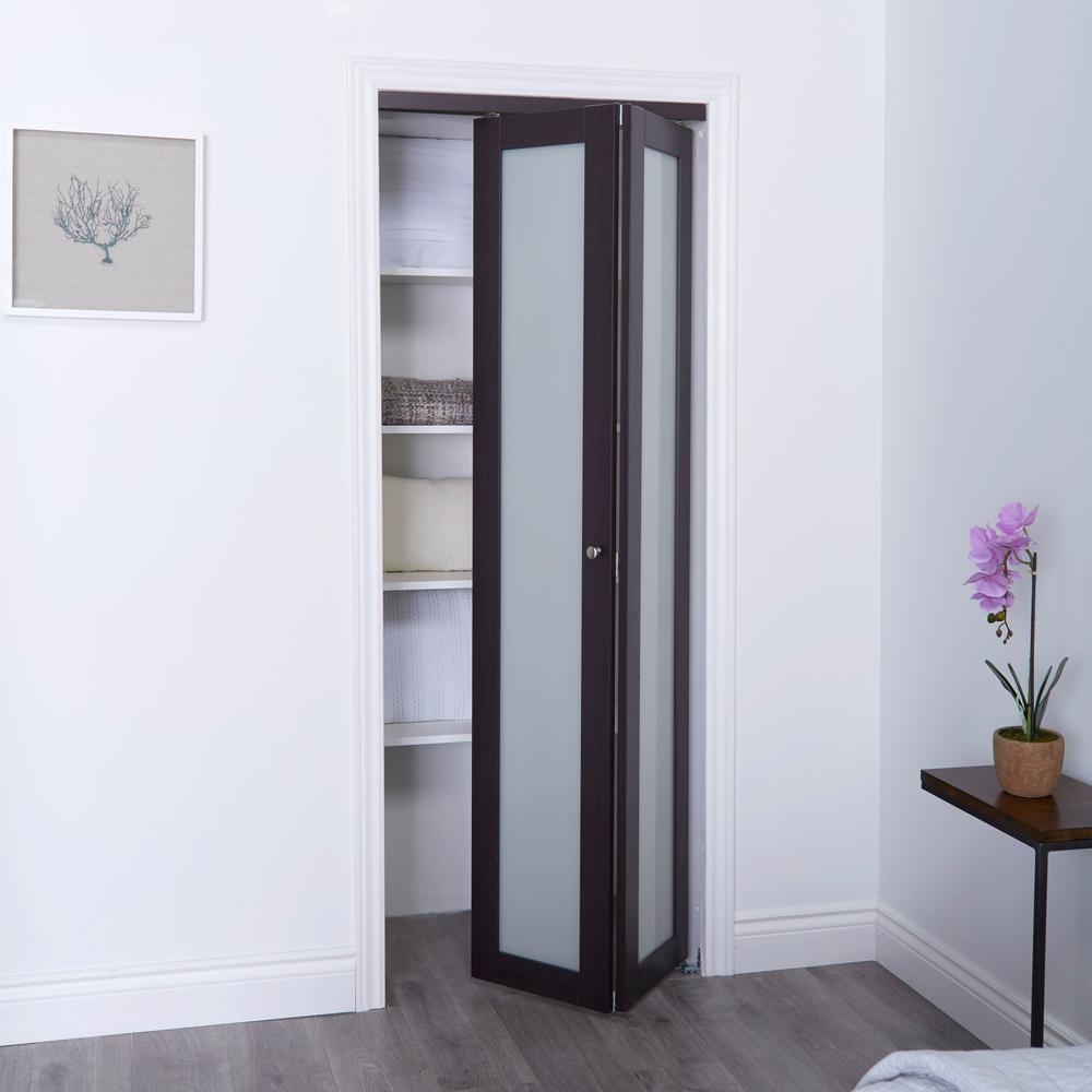 TRUporte 36 in  x 80 in  3030 Series 1-Lite Tempered Frosted Glass  Composite Espresso Interior Closet Bi-Fold Door