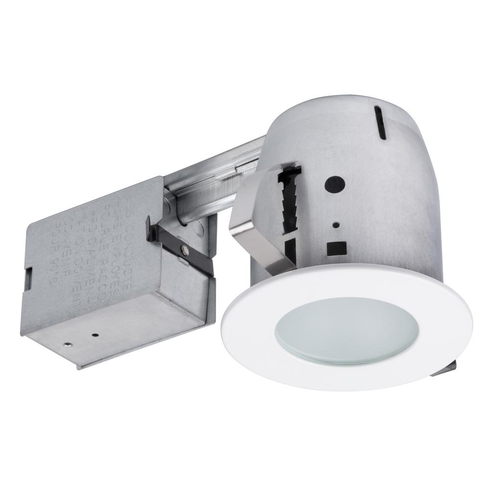Globe Electric 4 In White Ic Rated Recessed Lighting Kit Led Bulb Included