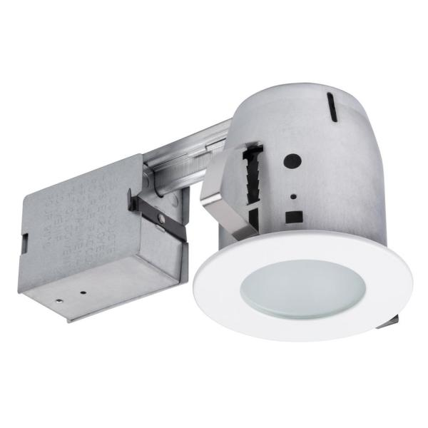 4 in. White IC Rated Recessed Lighting Kit, LED Bulb Included