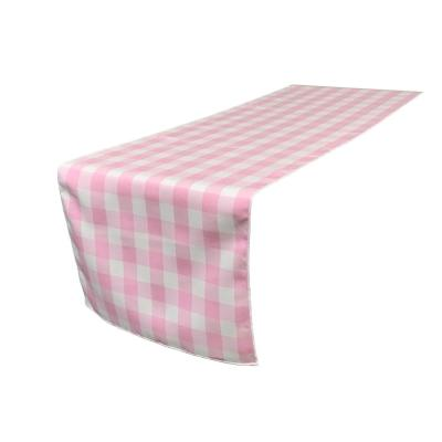 14 in. x 108 in. White and Pink Polyester Gingham Checkered Table Runner