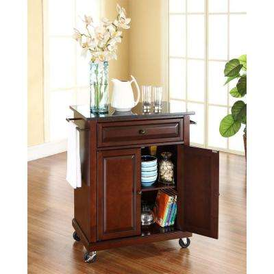 Mahogany Kitchen Cart with Black Granite Top