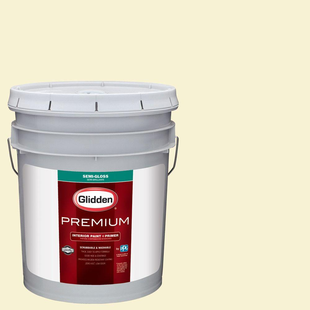 Glidden Premium 5 gal. #HDGY43 Soft Candlelight Semi-Gloss Interior Paint with Primer, Yellows/Golds