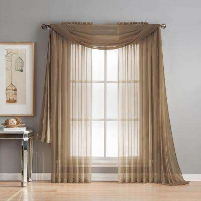 Diamond Sheer Voile 56 in. W x 216 in. L Curtain Scarf in Mocha