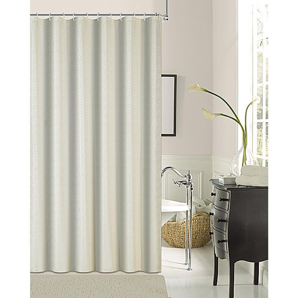 Kingston 72 in. Ivory Shrink Yarn Shower Curtain