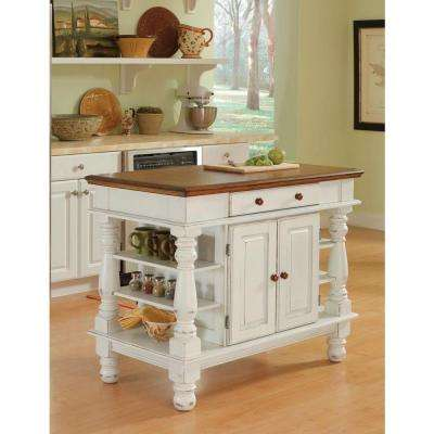 Americana white kitchen island with storage