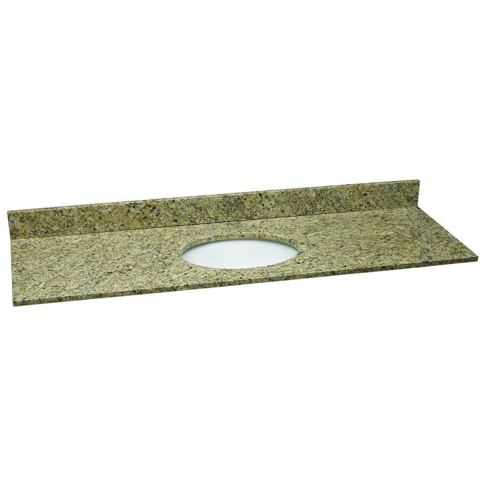 61 in. W Granite Vanity Top in Venetian Gold with White