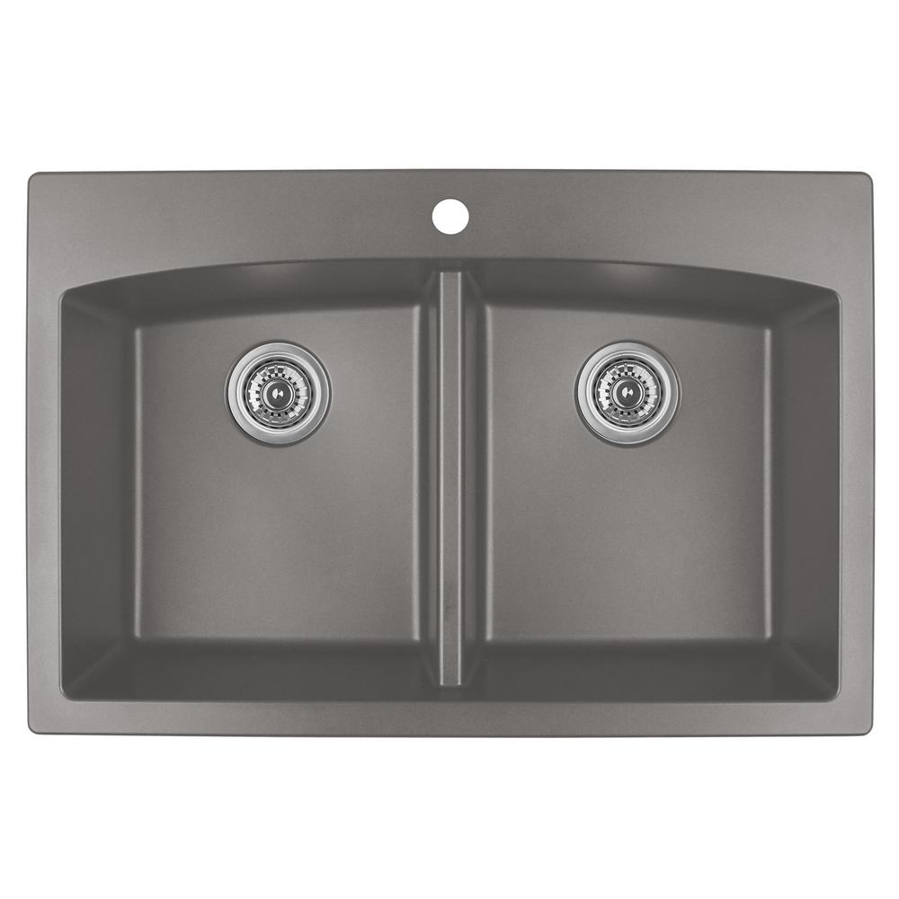 Karran drop in quartz composite 33 in double bowl kitchen sink in karran drop in quartz composite 33 in double bowl kitchen sink in concrete workwithnaturefo