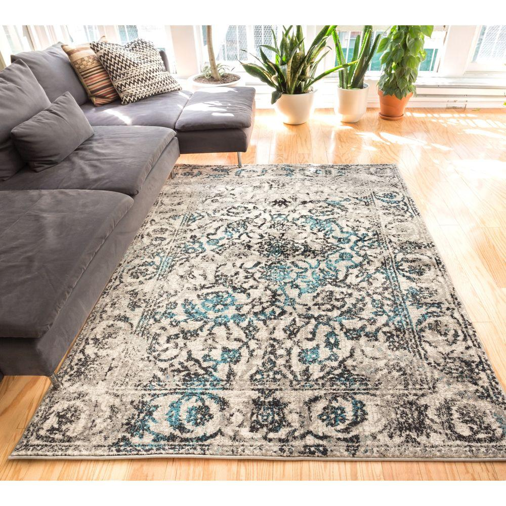 Well Woven Sydney Vintage Sheffield Blue 8 Ft. X 11 Ft