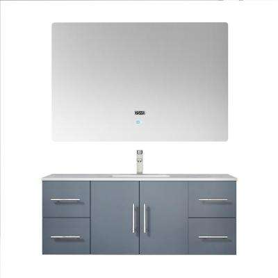 Geneva 48 in. W Vanity in Dark Grey with Marble Vanity Top in White Carrara with White Basin 48 in. LED Mirror Faucet