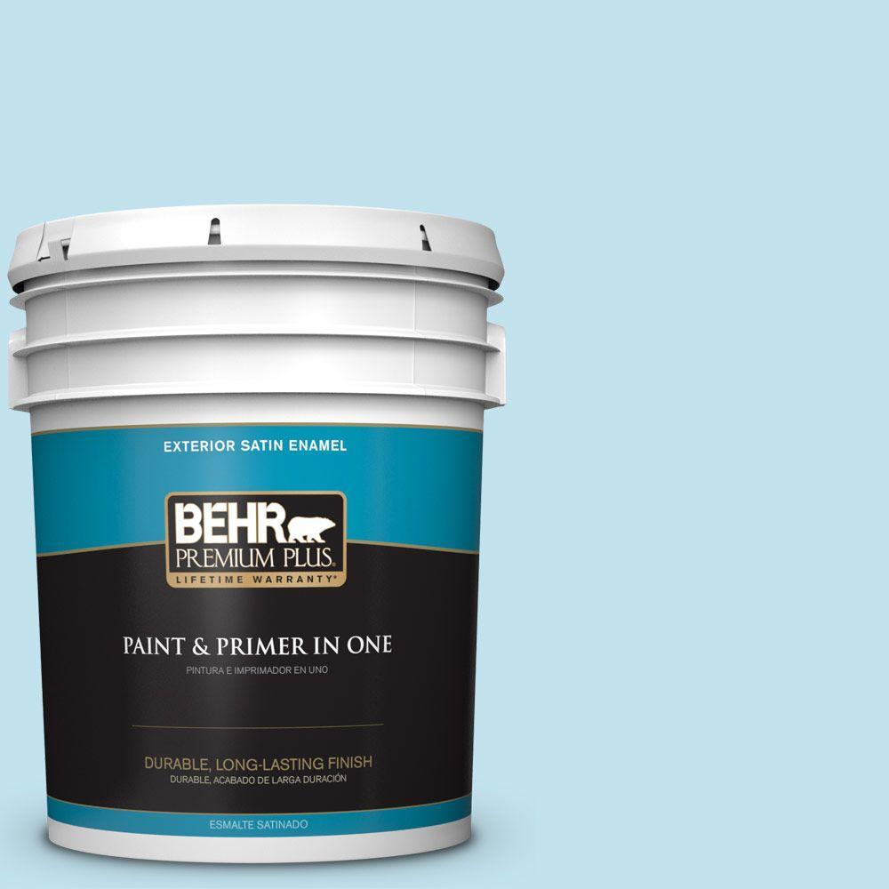BEHR Premium Plus 5-gal. #540C-2 Serene Sky Satin Enamel Exterior Paint