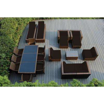 Mixed Brown 20-Piece Wicker Patio Combo Conversation Set with Sunbrella Bay Brown Cushions