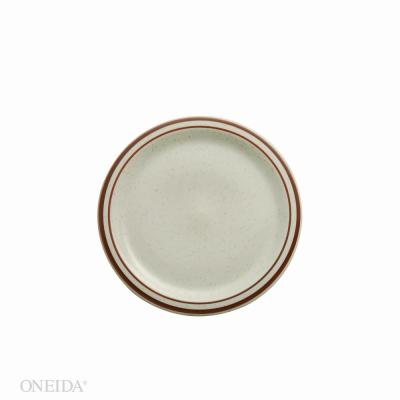 9.5 in. Dunes Porcelain Narrow Rim Plates (Set of 24)