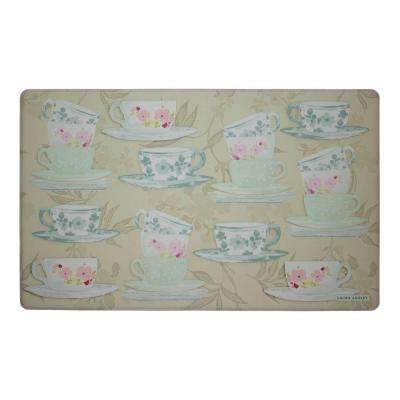 Tea Party Taupe 20 in. x 32 in. Memory Foam Kitchen Mat