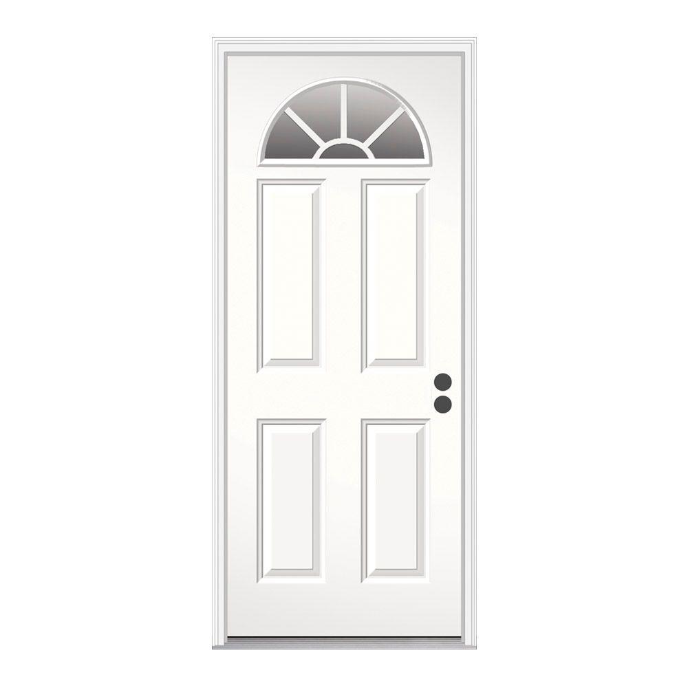 JELD-WEN 32 in. x 80 in. Fan Lite Primed Steel Prehung Left-Hand Inswing Front Door w/Brickmould