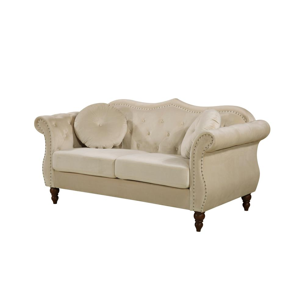 Us Pride Furniture 2 Piece Bellbrook Ivory Classic Nailhead Chesterfield Living Room Set S5368 L S The Home Depot