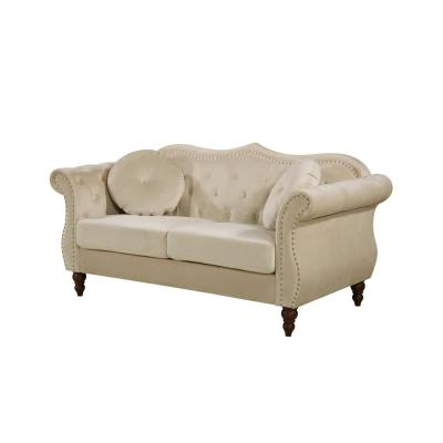 2-Piece Bellbrook Ivory Classic Nailhead Chesterfield Living Room Set