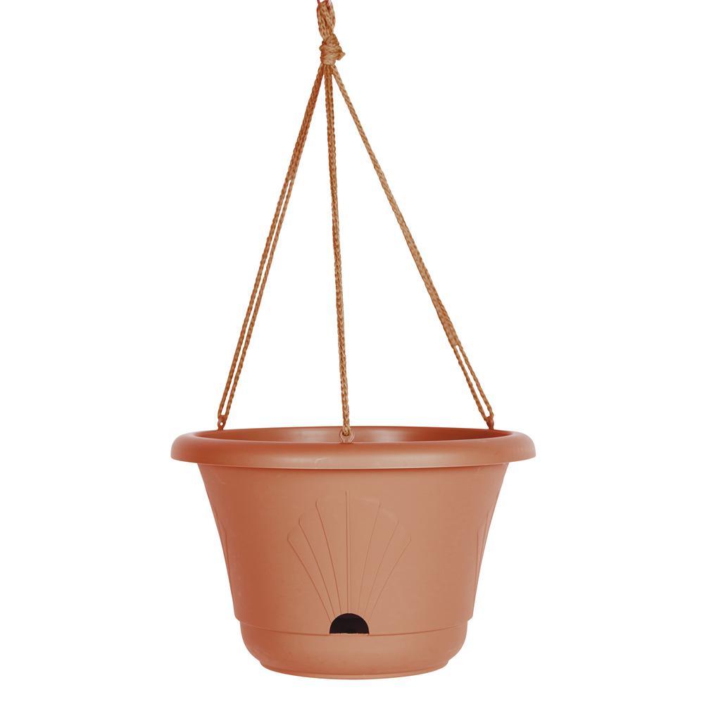 13 x 8.75 Terra Cotta Lucca Plastic Self Watering Hanging Basket