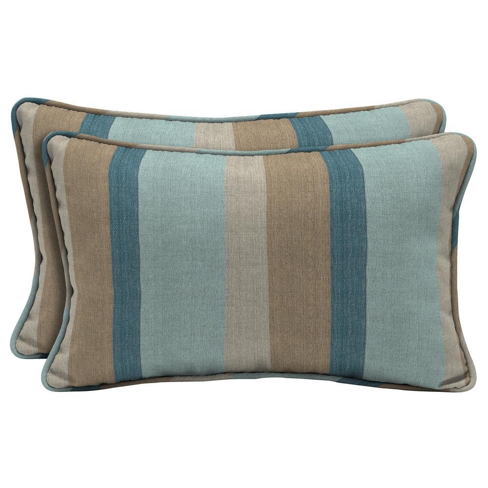 Home Decorators Collection Sunbrella Gateway Mist Lumbar Outdoor Throw Pillow (2-Pack)