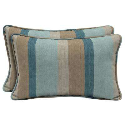 Sunbrella Gateway Mist Lumbar Outdoor Throw Pillow (2-Pack)