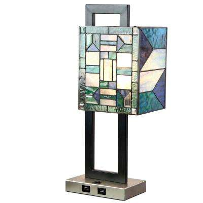 20.25 in. Blue Stained-Glass Table Lamp with 2-USB Ports