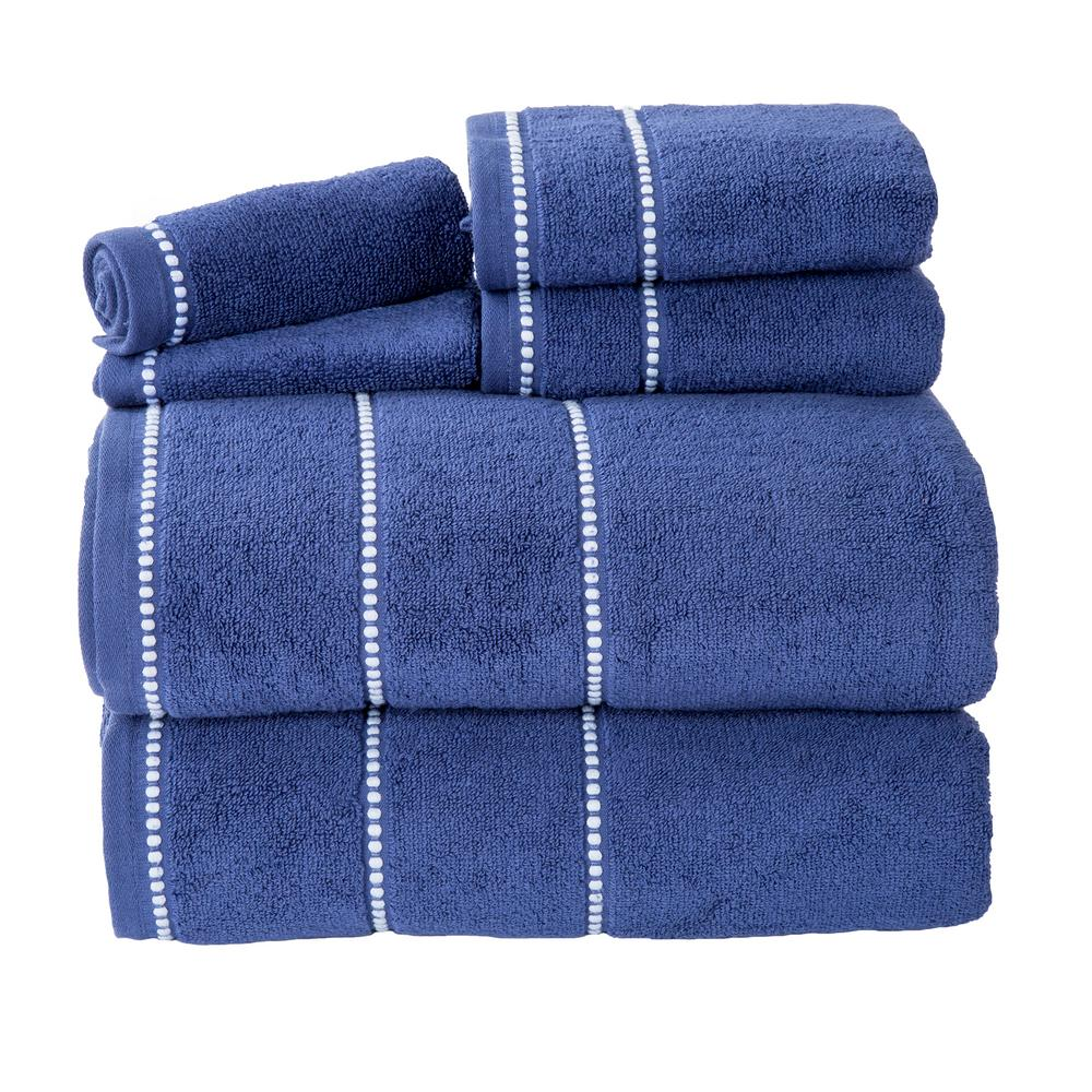 Lavish Home 100% Cotton Zero Twist Quick Dry Towel Set in Navy (6-Piece)