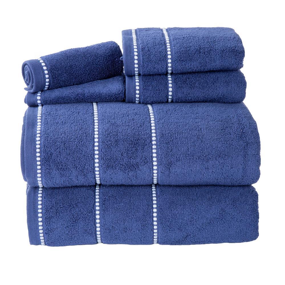100% Cotton Zero Twist Quick Dry Towel Set in Navy (6-Piece)