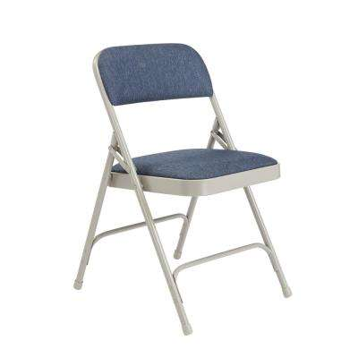 Blue/Grey Fabric Padded Seat Stackable Folding Chair (Set of 4)