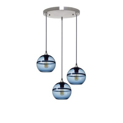Unique Optic Contemporary 7 in. H 3-Light Silver DoubleEyelid Hand Blown Glass Chandelier with Blue Glass Shades