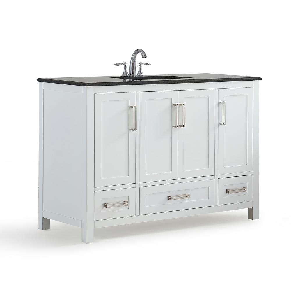 Evan 48 in. W x 21.5 in. D x 34.5 in. H Bath Vanity in White with Granite Vanity Top in Black with White Basin