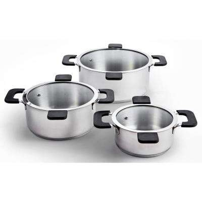 6-Piece Stainless Steel Inductive Pot Set with Straining and Hands-Free Glass Lids